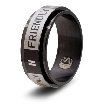 Attitude Ring Random Spinner Ring Helpful, Friendly, N (Neutral), Unfriendly, Hostile - Rainbow, Black, Blue, or Gold!