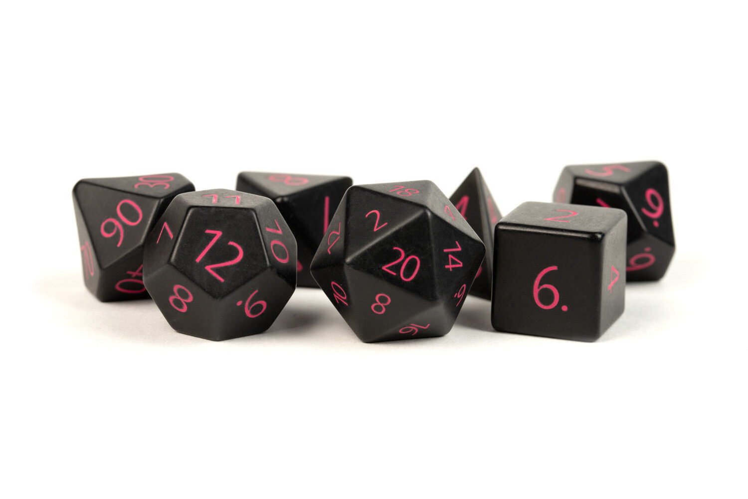 Engraved Black Obsidian with Purple Numbers: Full-Sized 16mm Polyhedral Dice Set