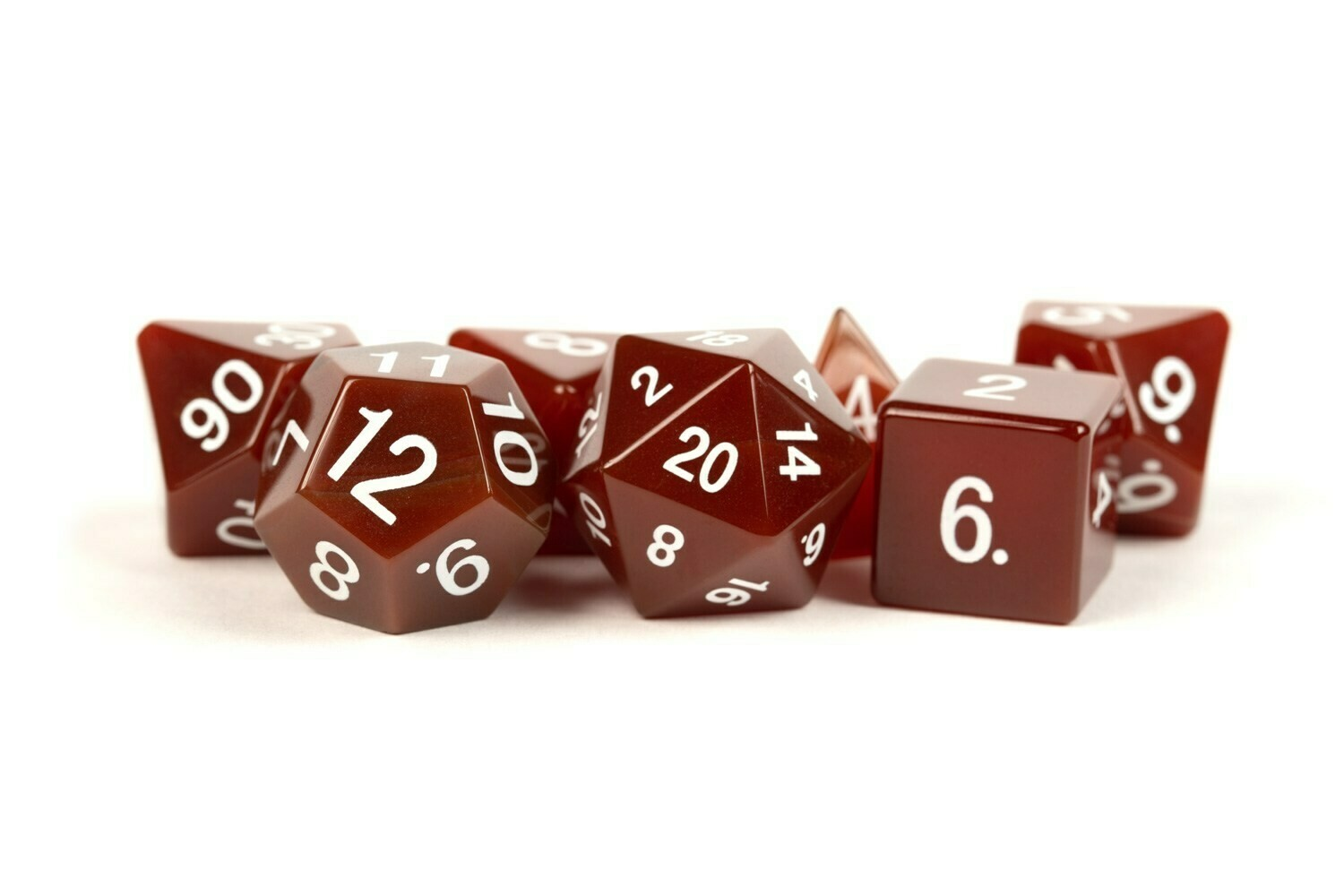Carnelian: Full-Sized 16mm Polyhedral Dice Set RPG Tabletop Gaming Roleplay