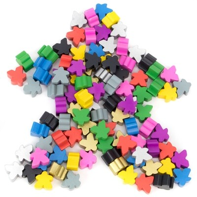 100 Assorted Meeples Gaming Parts Pieces Tabletop Development RPG Board Card