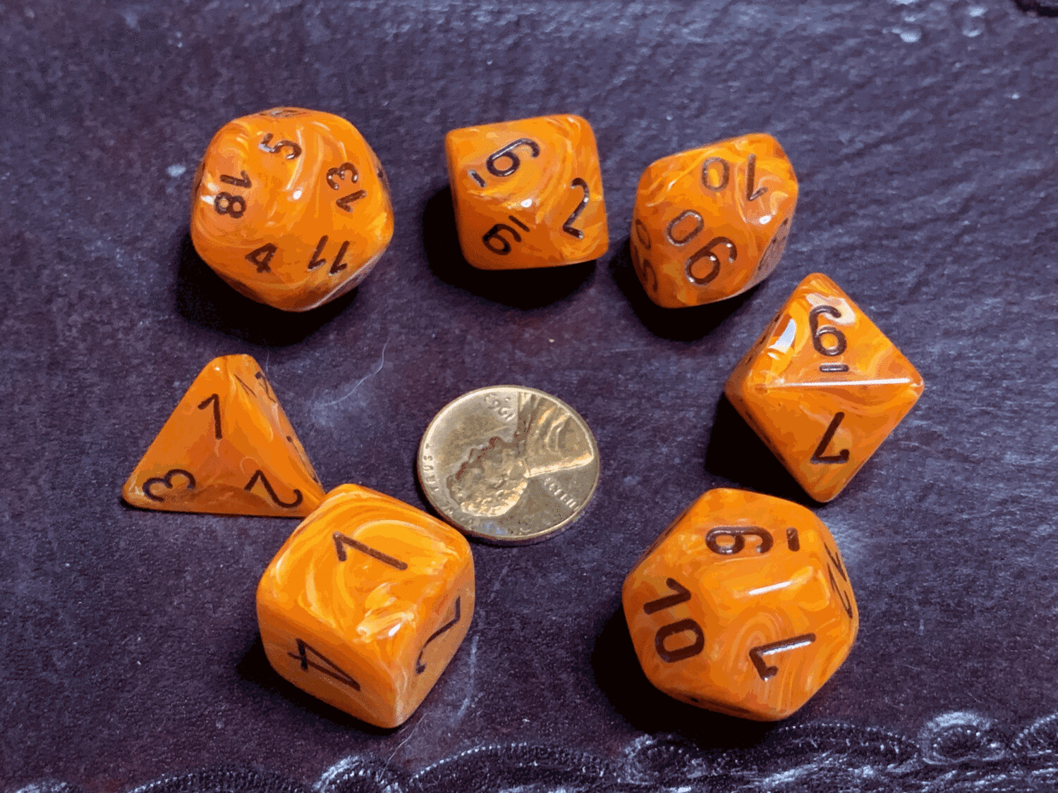 Chessex 16mm 7 Die Polyhedral Dice Set - Vortex Orange Black - RPG Tabletop Game