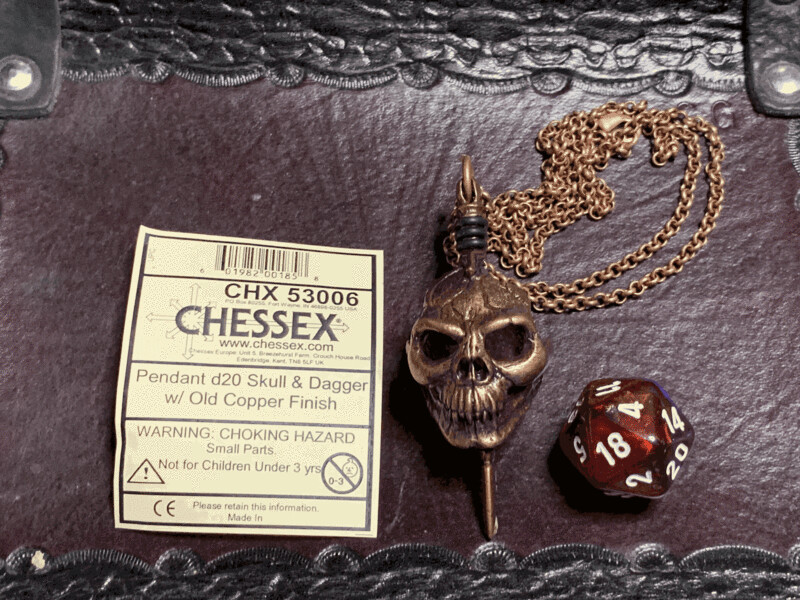 Chessex 16mm Dice Pendant Old Copper Skull & Dagger with D20 Die Tabletop RPG