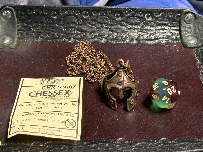 Chessex 16mm Dice Pendant Old Copper Helmet with D20 Die Tabletop RPG