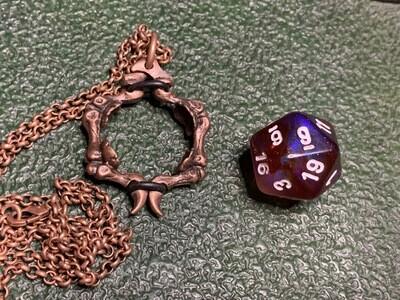 Chessex 16mm Dice Pendant Old Copper Bones Skeleton with D20 Die Tabletop RPG