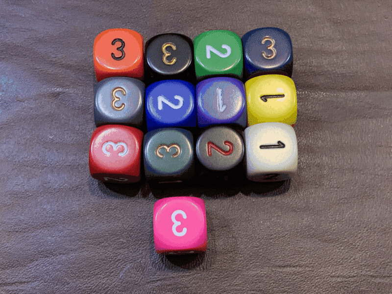 D3 (3 Three Sided) Die Dice (1-3 6 Six Sided) Tabletop Gaming RPG Roleplay - Many Color Options