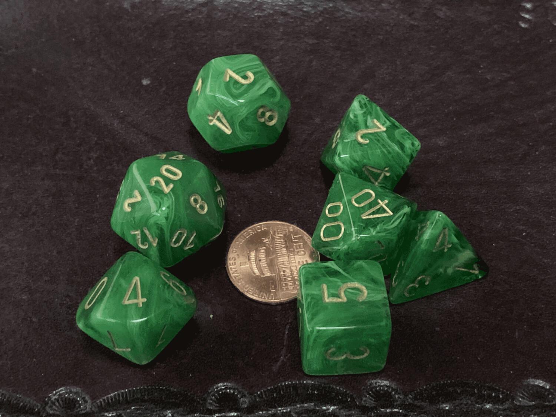Chessex 16mm 7 Die Polyhedral Dice Set - Vortex Green Gold - RPG Tabletop Game