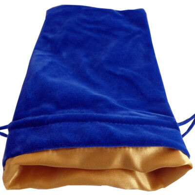 Velvet Dice Bag With Satin Liner 4″x6″ Blue with Gold - Drawstring Pouch Jewelry