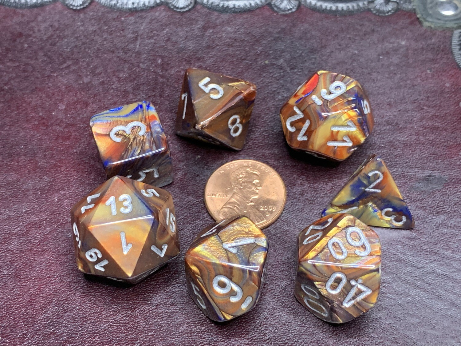 7 Die Dice Polyhedral Set - Chessex Lustrous Gold with Silver RPG Tabletop Games