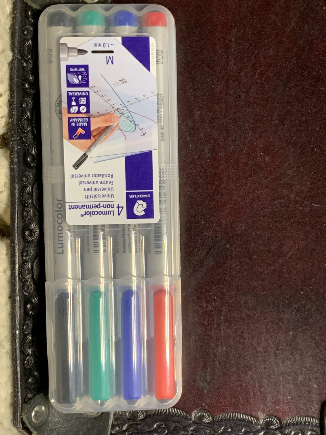 4 Color Pack Wet Erase Water Soluble Markers Lumocolor Medium