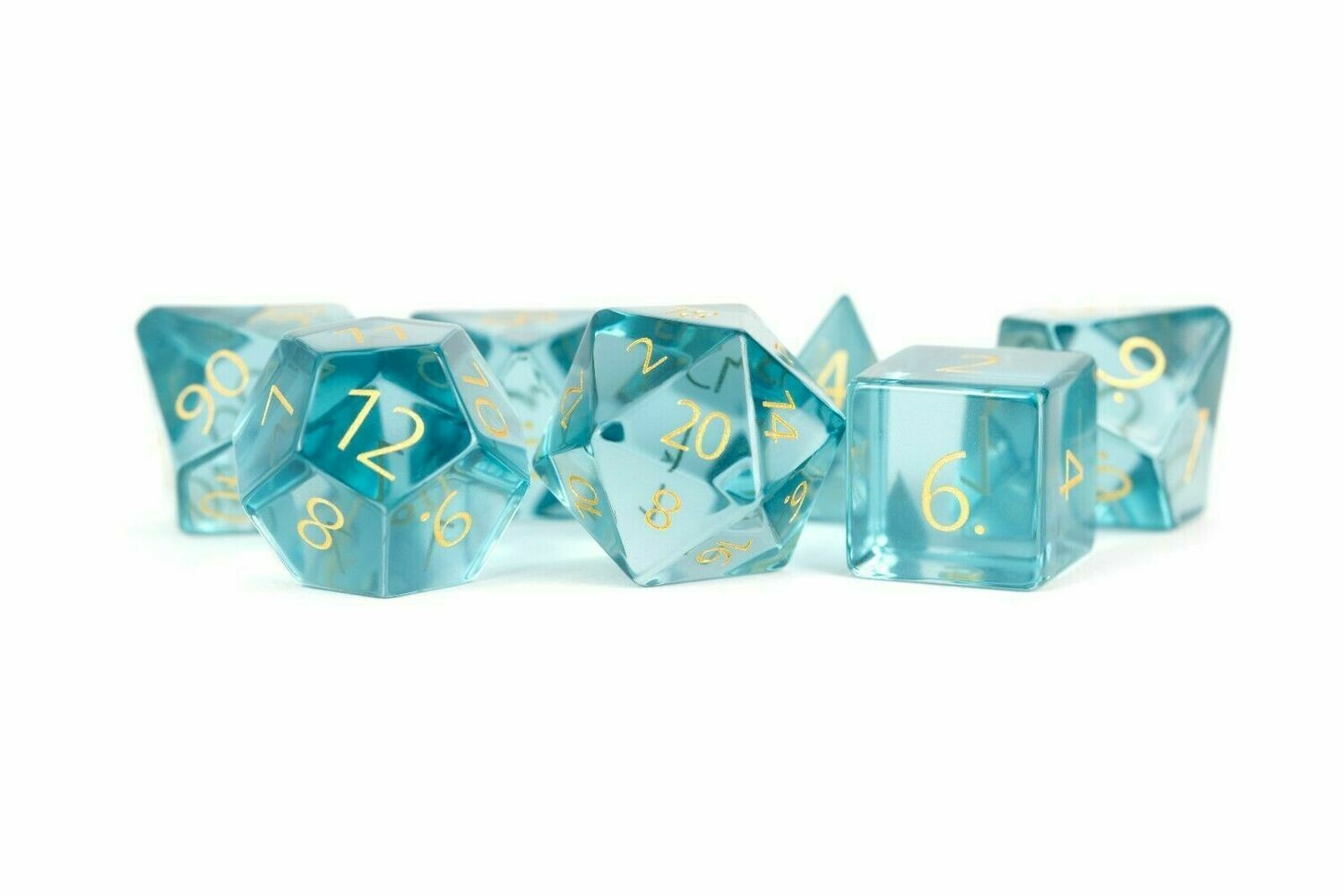 Zircon Glass Birthstone Dice: March- Aquamarine Polyhedral Set RPG Tabletop Game
