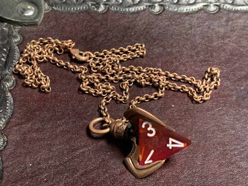 Chessex 16mm Dice Pendant Gold Finish Dragons w Butterfly D10 Die RPG Tabletop