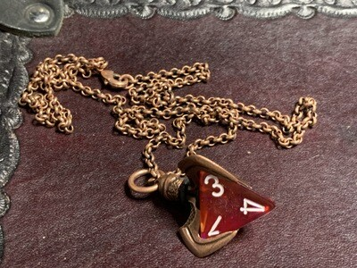 Chessex 16mm Dice Pendant Old Copper Blade Claw w Butterfly D4 Die RPG Games