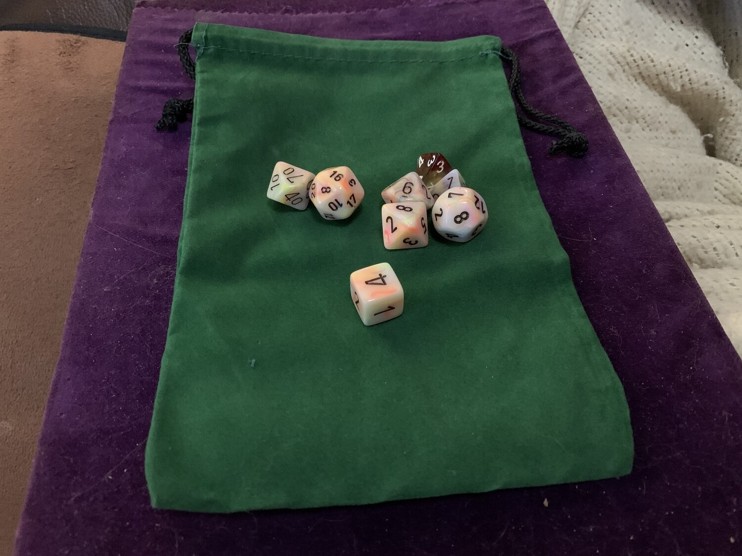 """6x9"""" Cloth Dice Bag Green Large Drawstring Jewelry Pouch Holds Many Polyhedral"""
