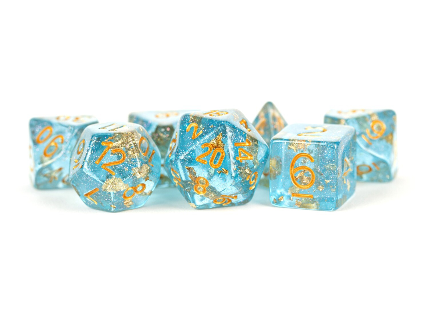 Blue Foil 16mm Resin Poly Dice Set RPG Tabletop Roleplay Board Games Roll