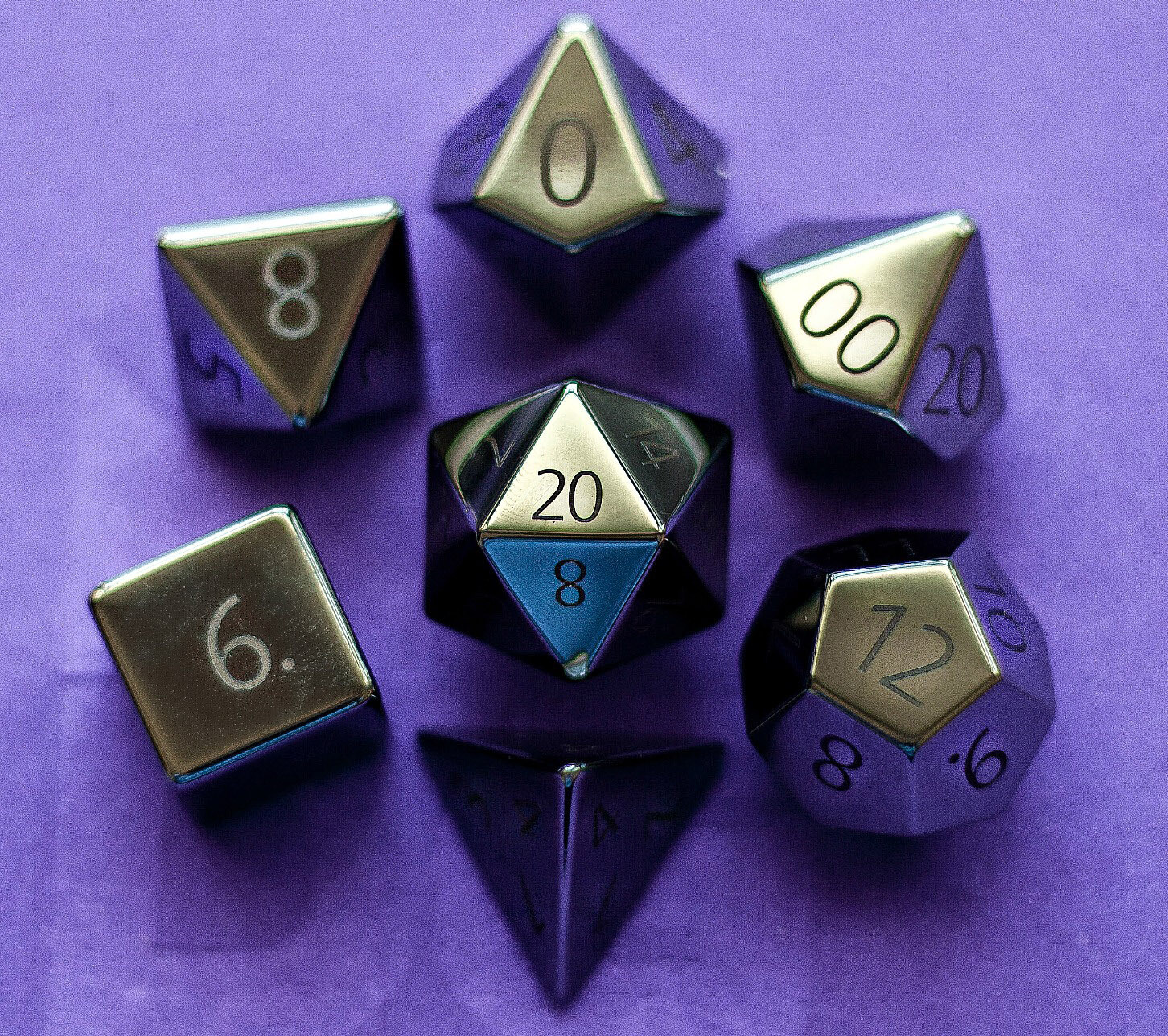 Engraved Hematite: Full-Sized 16mm Polyhedral Dice Set RPG Tabletop Gaming Games