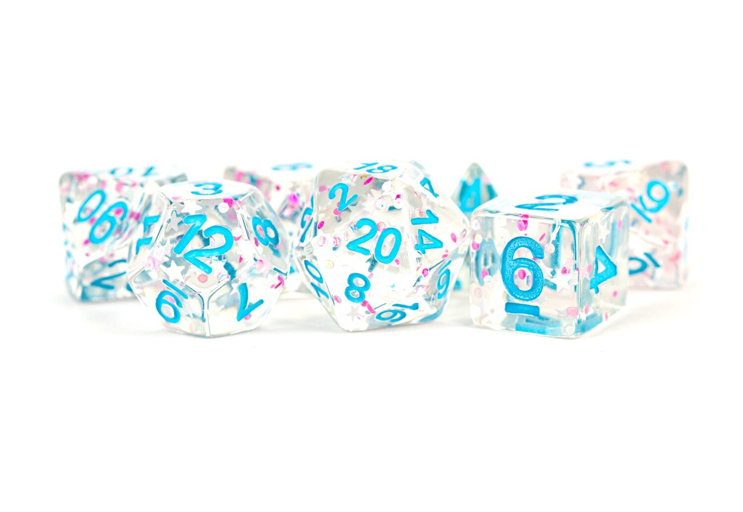 Clear Confetti 16mm Resin Poly Dice Set RPG Tabletop Gaming Roleplay Card Board