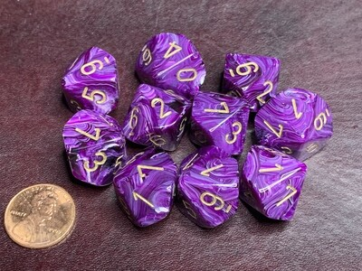 Chessex Dice 10d10 Vortex Purple with Gold Tabletop Roleplay Gaming RPG