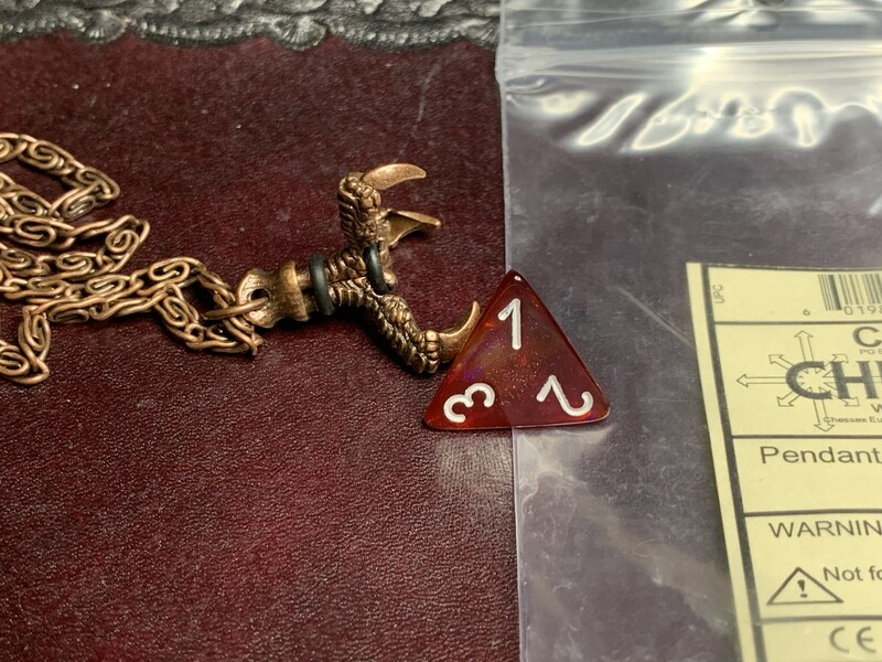 Chessex 16mm Dice Pendant Old Copper Butterfly D4 Die Tabletop RPG Gaming