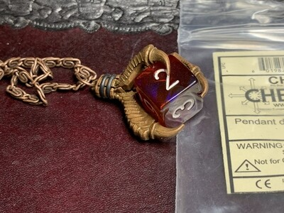 Chessex 16mm Dice Pendant Old Copper Butterfly D6 Die Tabletop RPG Gaming