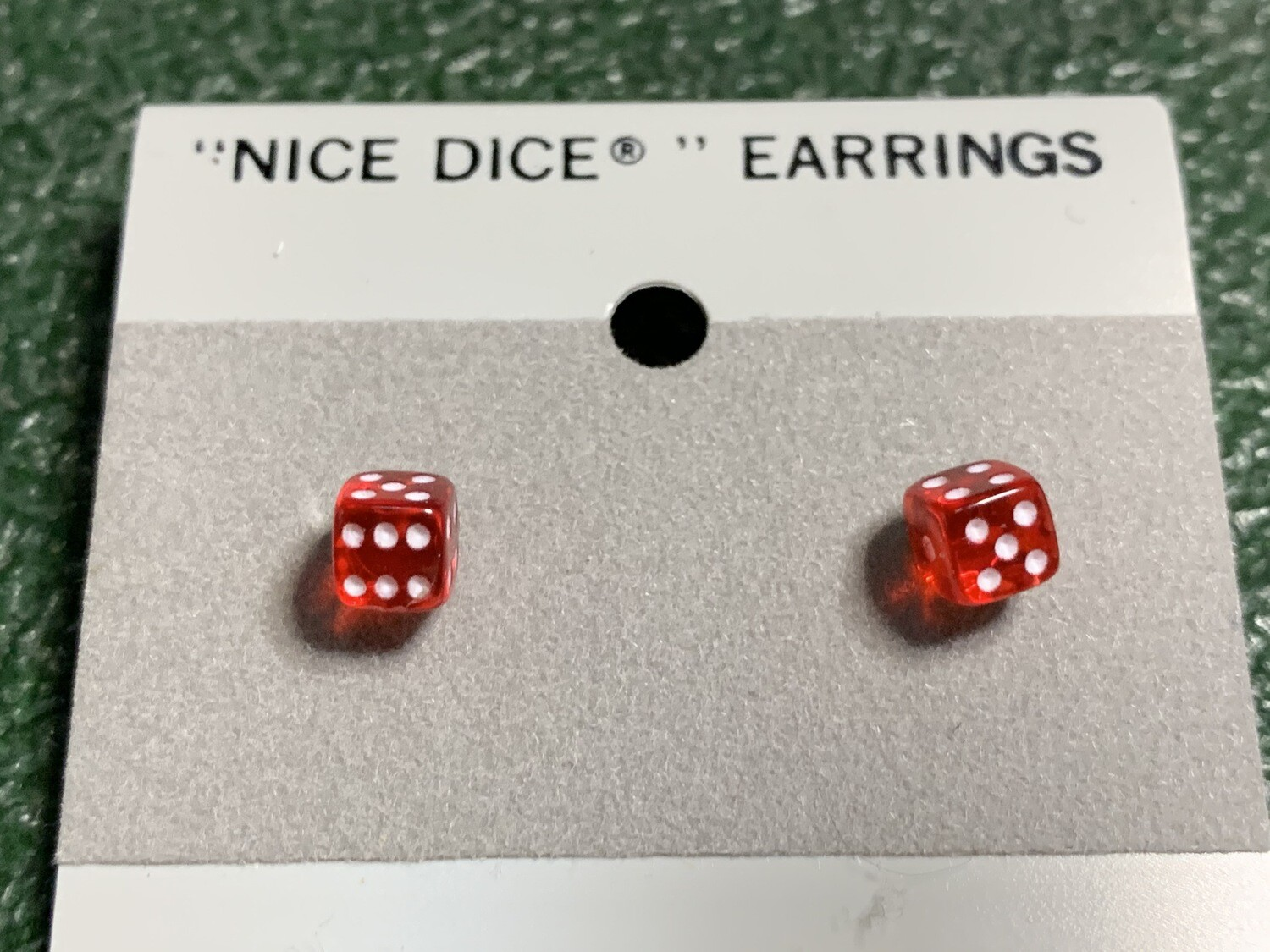 5mm Transparent Red Dice Post Earrings