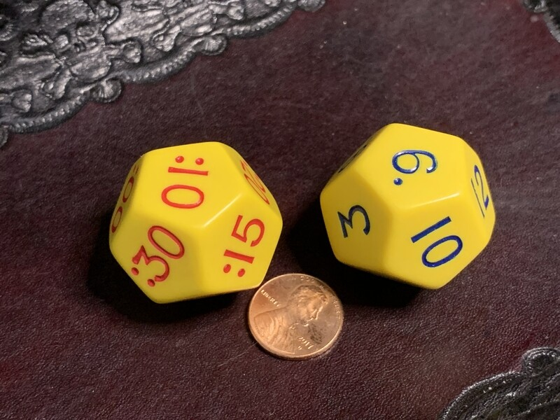Large Time Dice Hours Minutes Learn Teach Manipulate RPG Tabletop Gaming