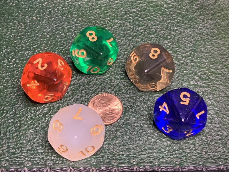 Countdown D10 (Ten Sided) Dice 5 Color Set Tabletop Gaming RPG Card Board Games