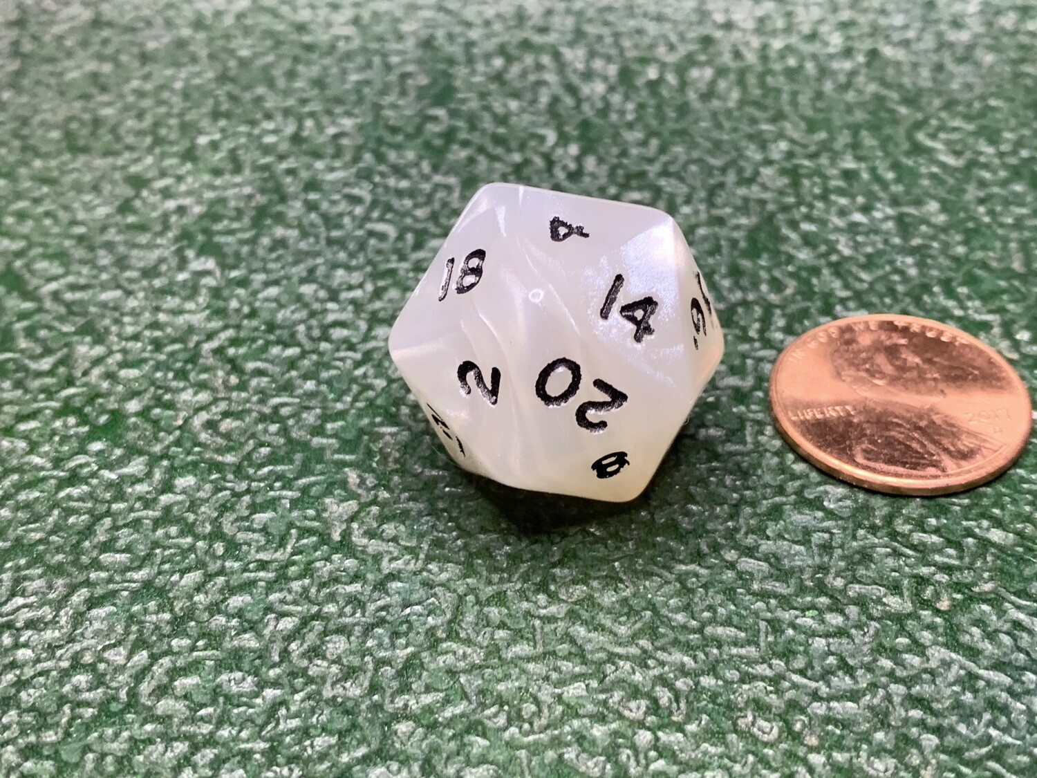 D20 (Twenty Sided) Cheat Gag Die - #20 x2 and no #1 - White with Black Dice