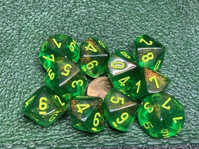 Chessex Dice 10d10 Borealis Maple Green Yellow Tabletop Roleplay Gaming RPG