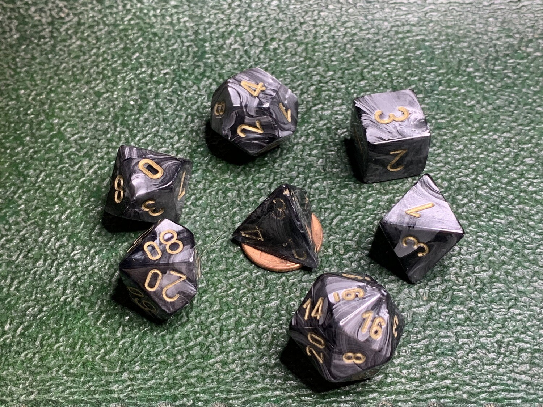 7 Die Dice Polyhedral Set - Lustrous Black with Gold RPG Tabletop Gaming Board