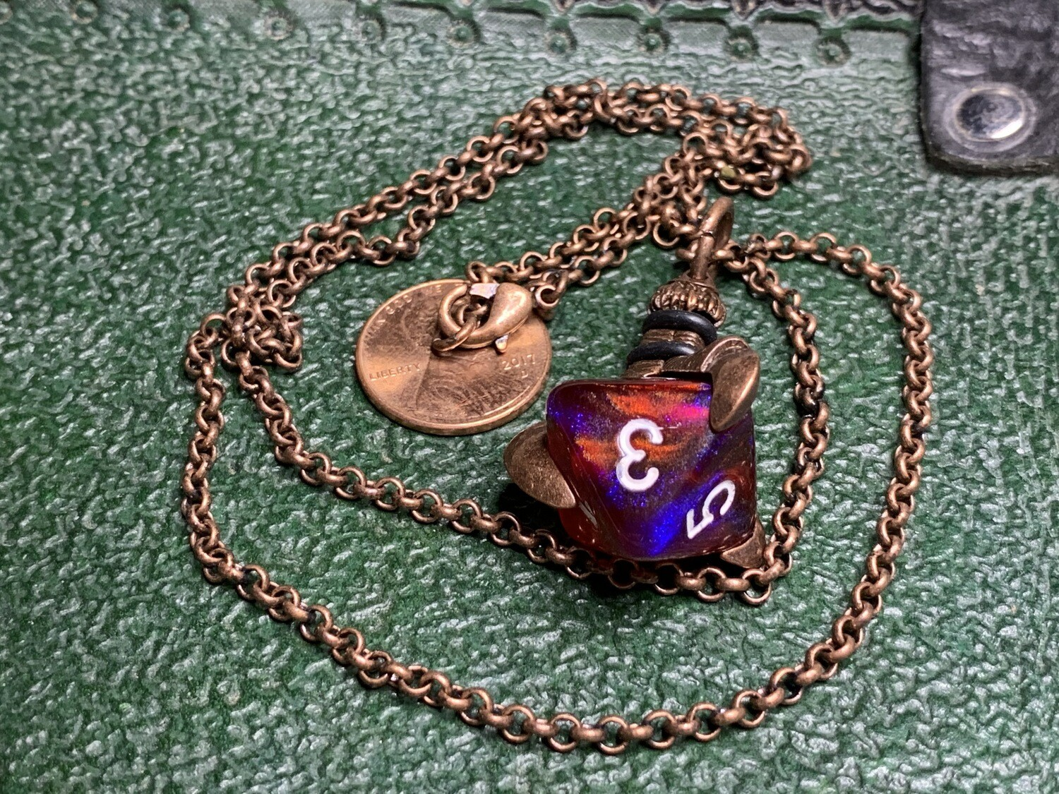 Chessex 16mm Dice Pendant Old Copper Butterfly D8 Die Tabletop RPG Gaming