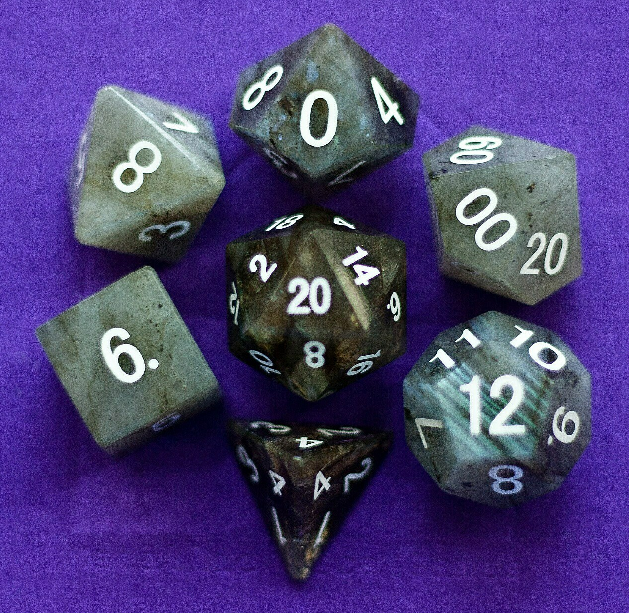 Labradorite: Full-Sized 16mm Polyhedral Dice Set RPG Gaming Tabletop Roleplay