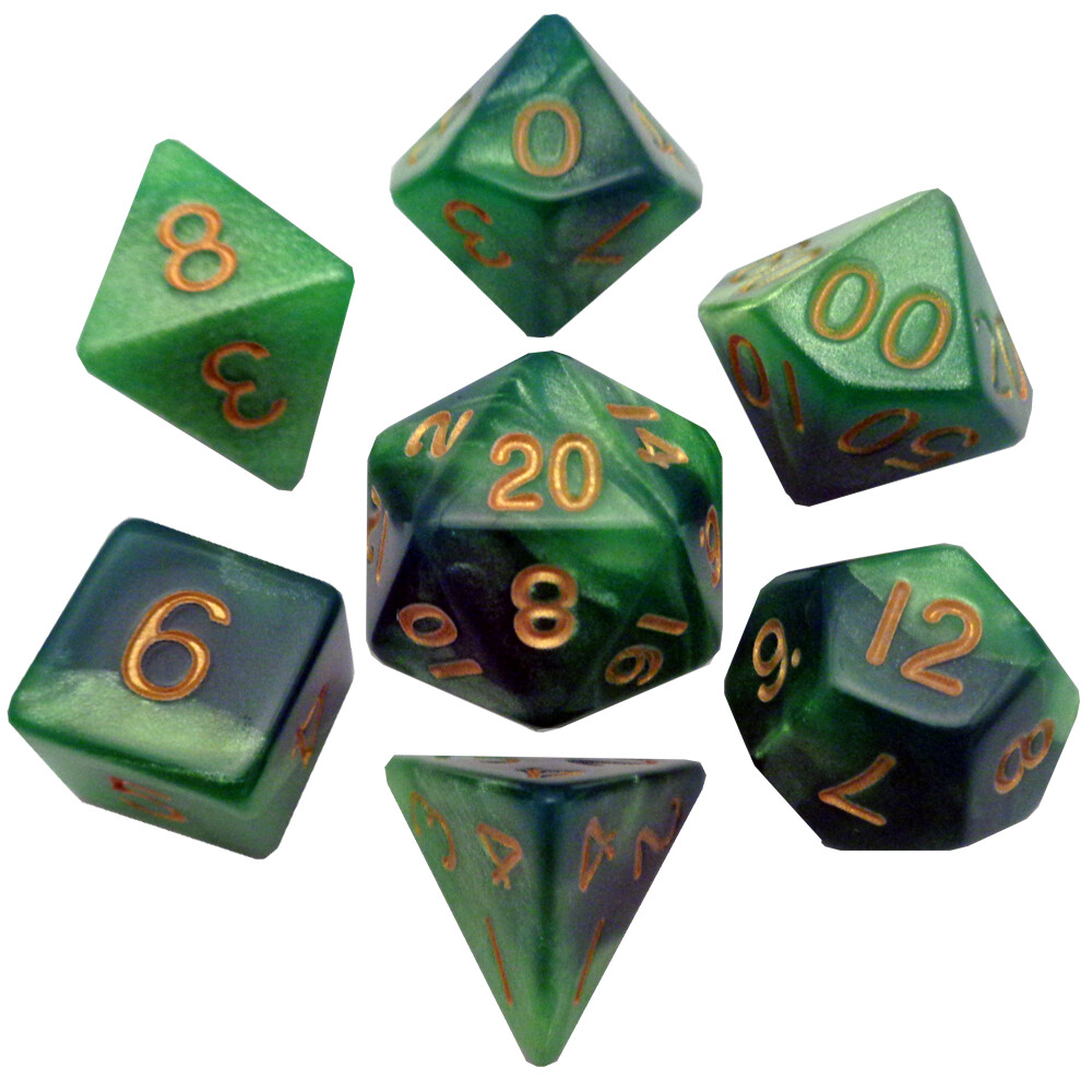 Green/Light Green with Gold Numbers 16mm Polyhedral Dice Set RPG Gaming