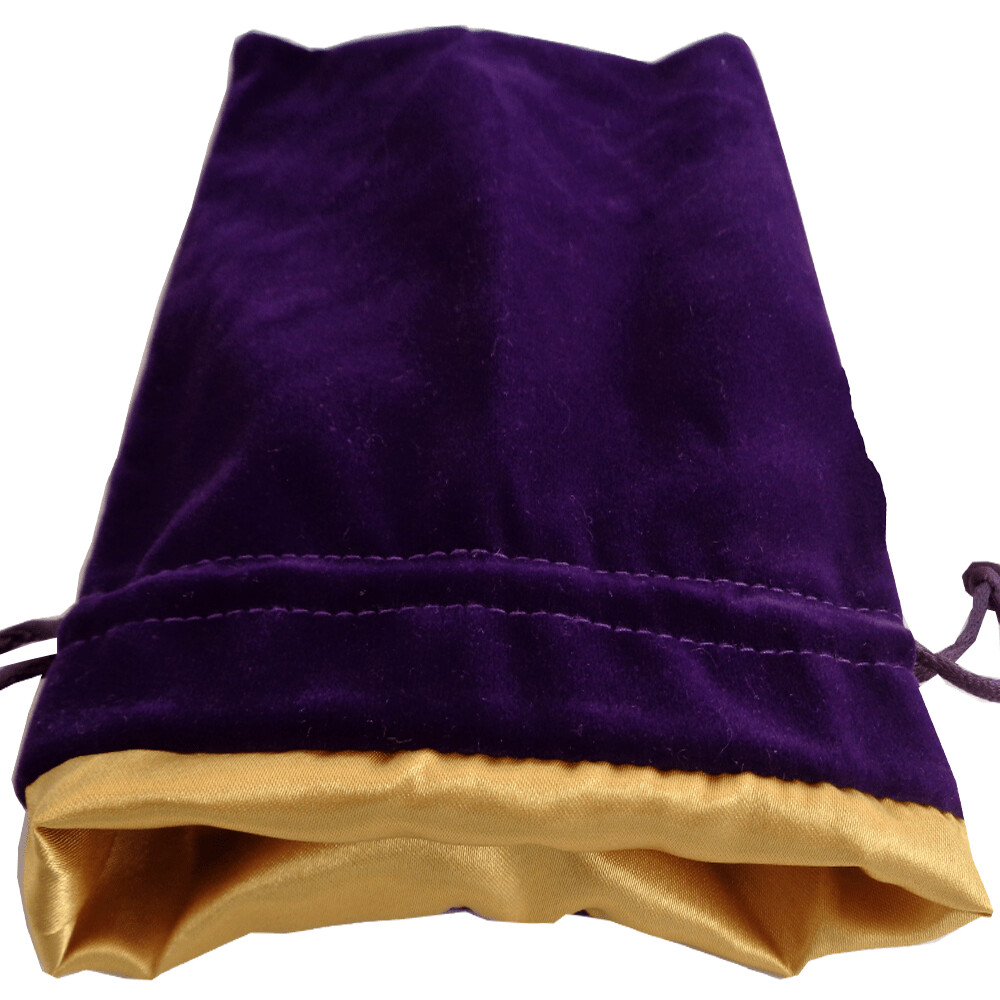 Velvet Dice Bag With Satin Liner 4″x6″ Purple with Gold - Drawstring Jewelry