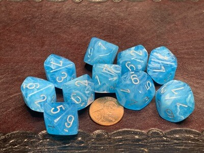 Chessex Dice 10d10 Luminary Sky Silver Glow in Dark Tabletop Roleplay Gaming RPG