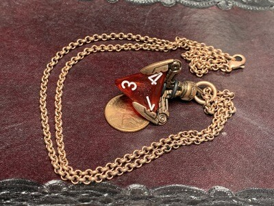 Chessex 16mm Dice Pendant Old Copper Tekno Claw w Butterfly D4 Die RPG Games