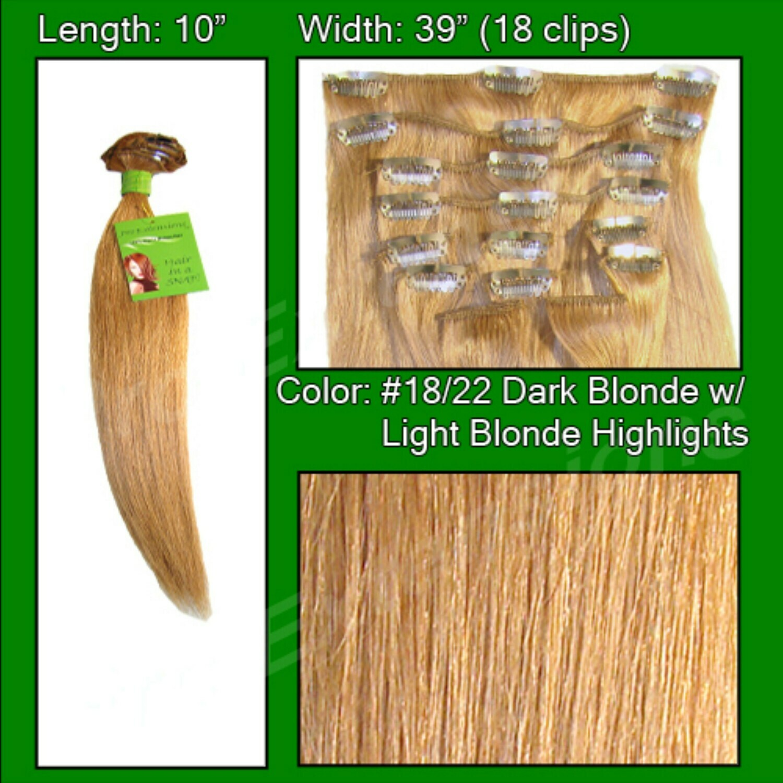 Hair Extensions #18/22 Dark Blonde w/ Light Highlights - 10 inch