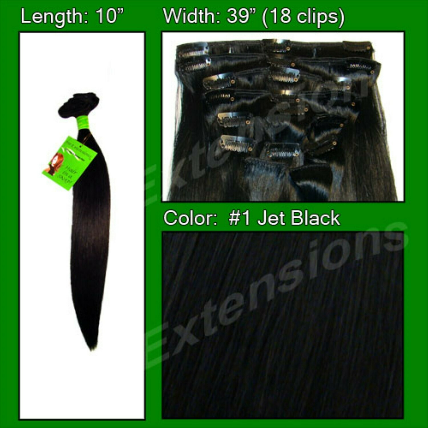 Hair Extensions #1B Off Black - 10 inch