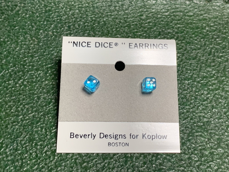 5mm Transparent Aqua Blue Dice Post Earrings