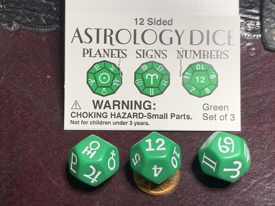 3D12 (x3 Twelve Sided) Astrology Dice Set Planets Signs Numbers Gaming Green