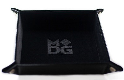 Black Velvet Dice Tray With Leather Backing RPG Tabletop Gaming
