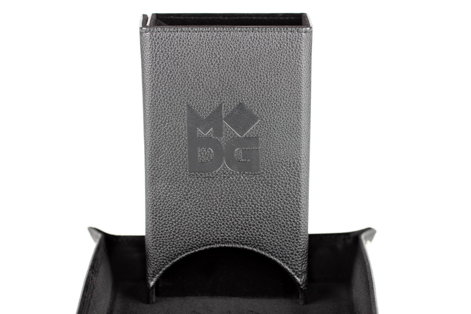 Fold Up Dice Tower For Polyhedral Gaming Dice RPG Role Play Black Leather
