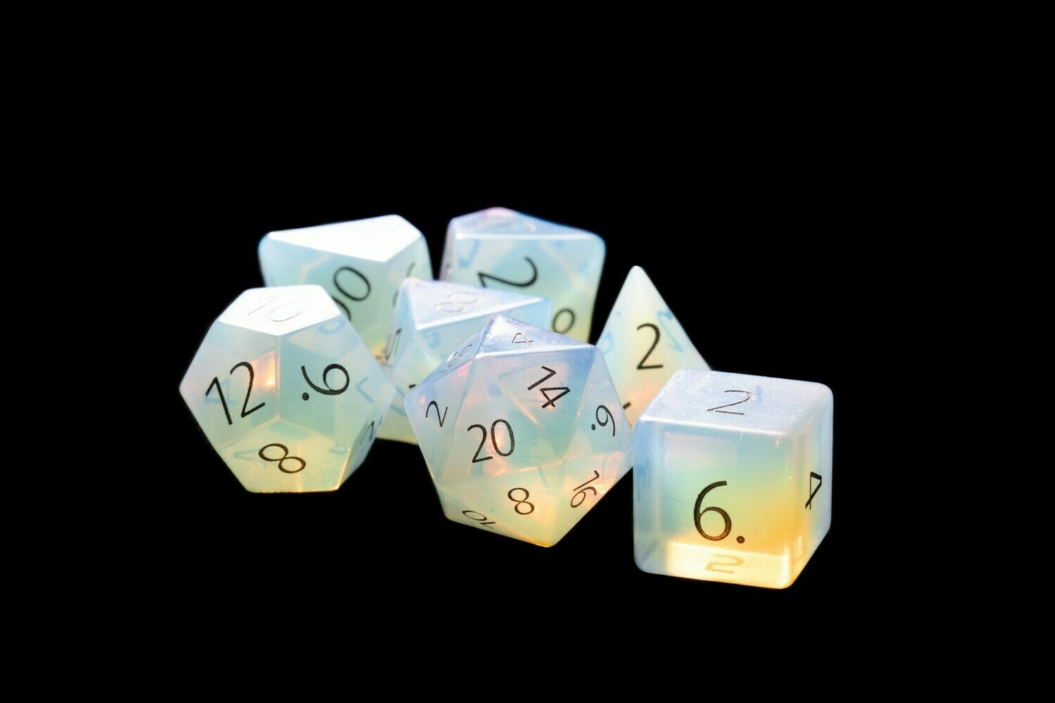 Engraved Opalite: Full-Sized 16mm Polyhedral Dice Set RPG Tabletop Gaming Games
