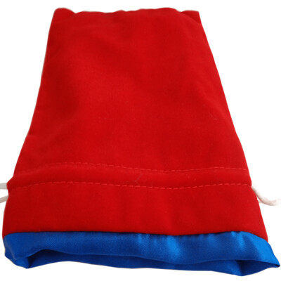 Velvet Dice Bag With Satin Liner 6″x8″ Red with Blue - Drawstring Pouch Jewelry