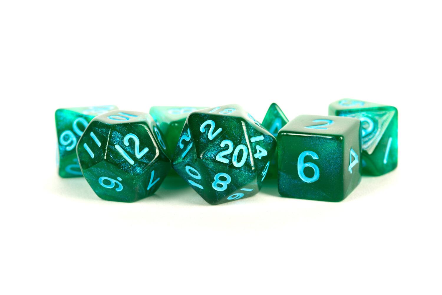 16mm Polyhedral 7 Dice Set Stardust Green with Blue Numbers RPG Tabletop Games