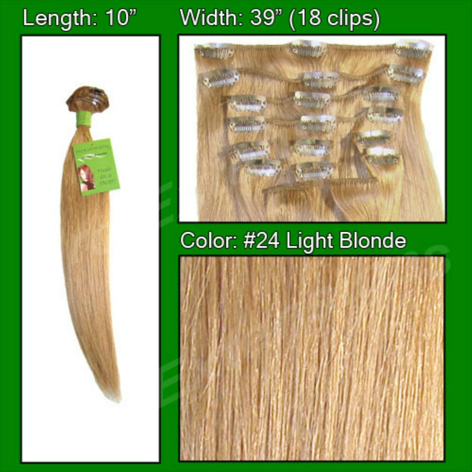 Hair Extensions #24 Light Blonde - 10 inch