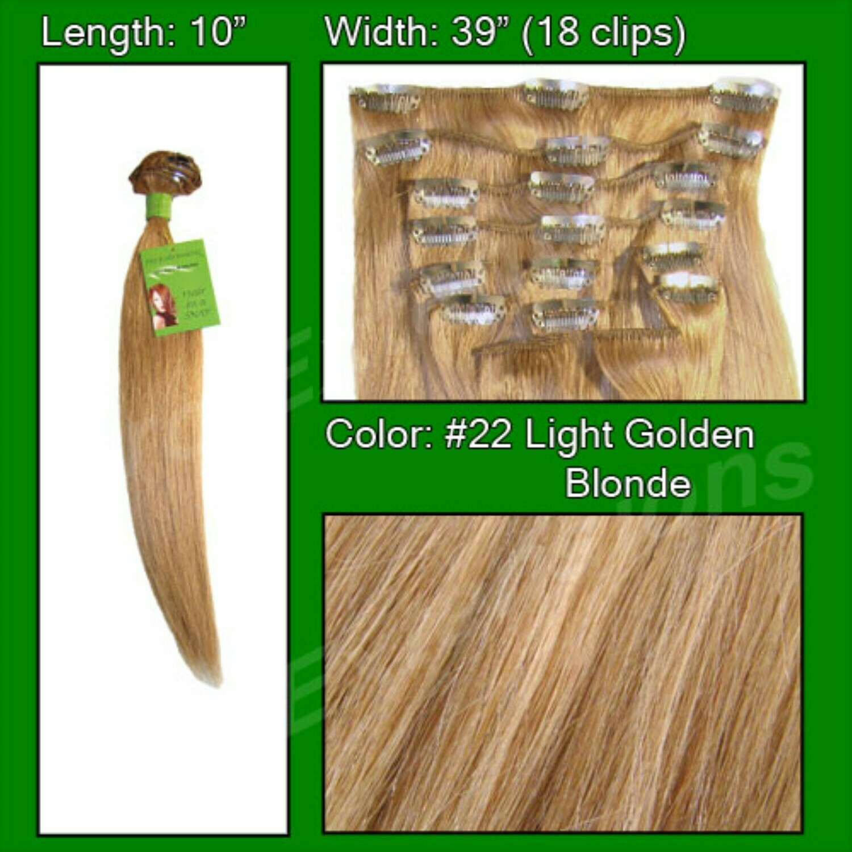 Hair Extensions #22 Medium Blonde - 10 inch