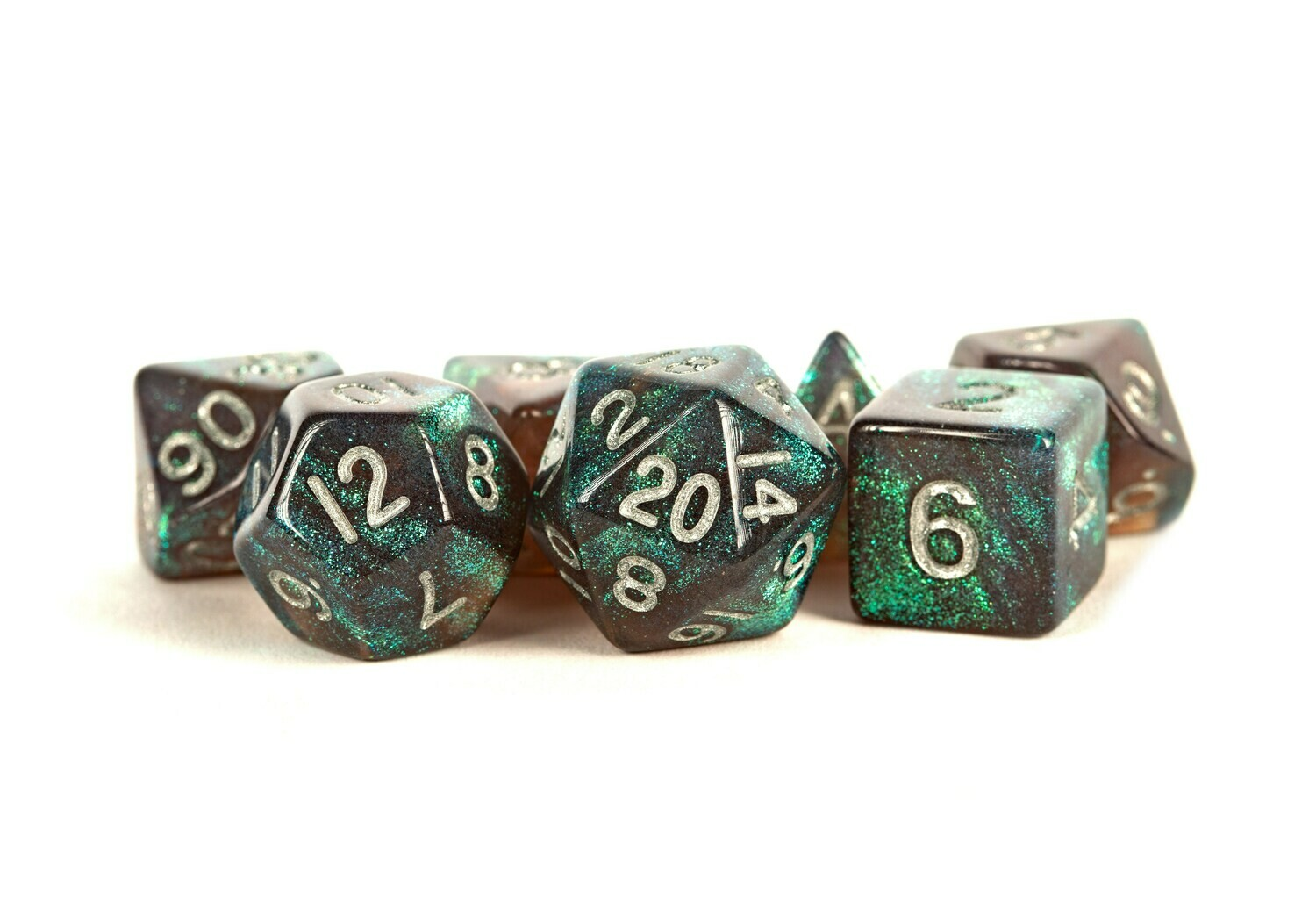 Stardust Gray with Silver 16mm Poly Dice Set Tabletop RPG Gaming Roleplay Games