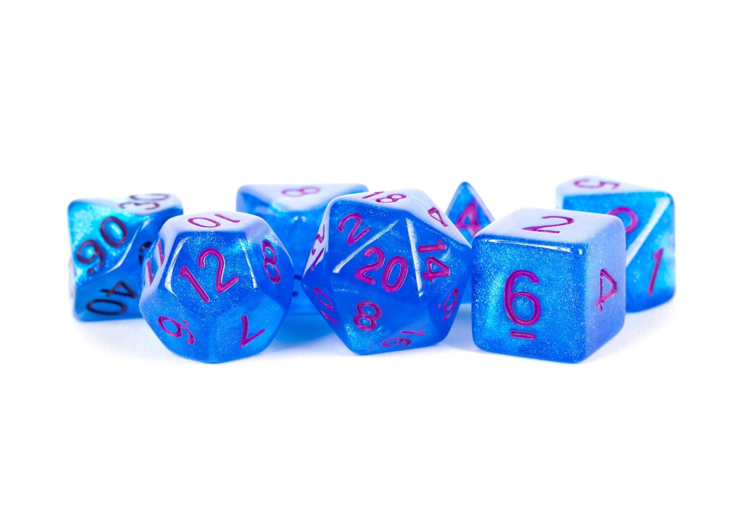 Stardust Blue with Purple 16mm Poly Dice Set Tabletop RPG Gaming Roleplay Games