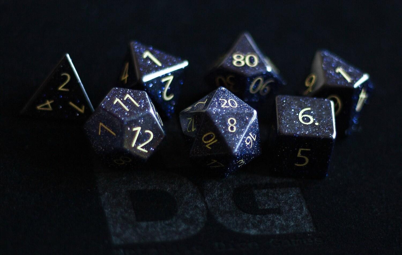 Engraved Blue Sandstone: Full-Sized 16mm Polyhedral Dice Set Tabletop RPG Gaming