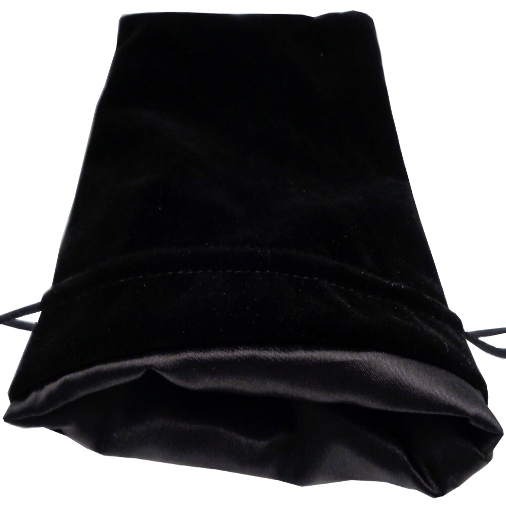 Velvet Dice Bag With Satin Liner 6″x8″ Black with Black - Drawstring Pouch Jewelry Tabletop RPG Gaming